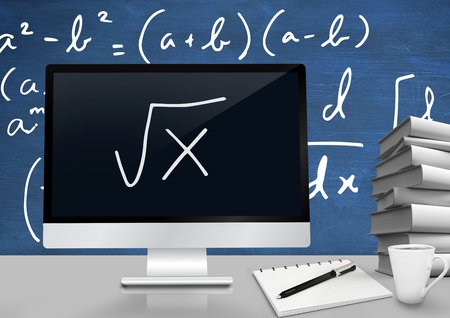 Digital composite of Computer at Desk foreground with blackboard graphics of math equations Stock Photo