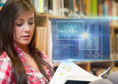 dna smile: Digital composite of Female Student studying with book and science education interface graphics overlay