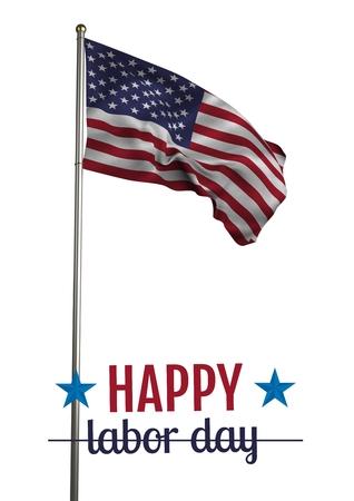 미국 국기 이상의 노동절 텍스트의 디지털 합성