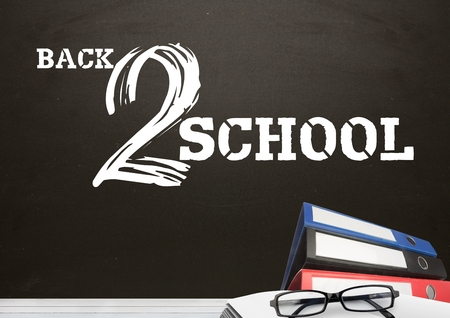 digitally generated image: Digital composite of Folders on Desk foreground with blackboard graphics of Back 2 School
