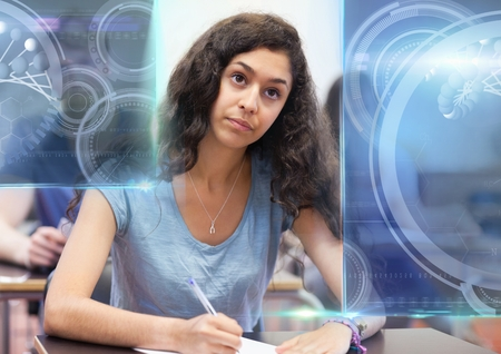 Digital composite of Female Student studying with notes and science education interface graphics overlay