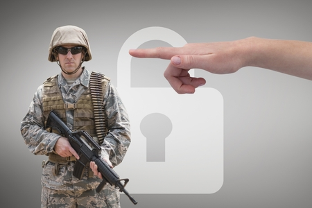 Digital composite of Hand pointing at soldier against grey background with a lock icon