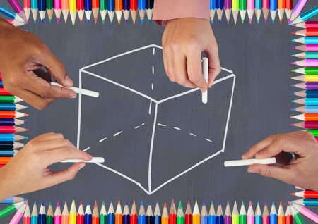 sleeve: Digital composite of Hands drawing cube on blackboard with coloring pencils Stock Photo