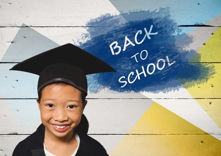Digital composite of Girl wearing graduation hat with back to school text