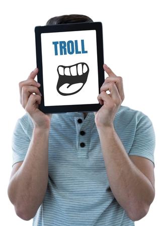 Composito digitale del testo di Troll con la bocca del fumetto sul ridurre in pani sopra il fronte di mans Archivio Fotografico - 83994866