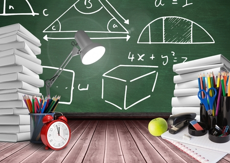 floorboards: Digital composite of Lamp on Desk foreground with blackboard graphics of math diagrams Stock Photo