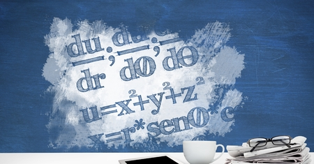 floorboards: Digital composite of Desk foreground with blackboard graphics of math equations Stock Photo
