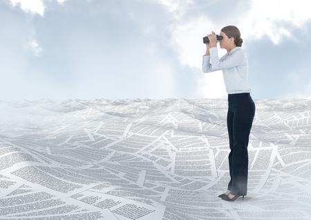Digital composite of Businesswoman holding binoculars in sea of documents under sky clouds
