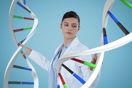 Digital composite of Doctor woman interacting with 3D DNA strands Stock Photo