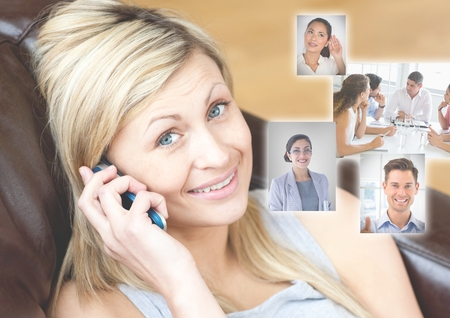 Digital composite of Woman holding phone with Profile portraits of people contacts Stock Photo