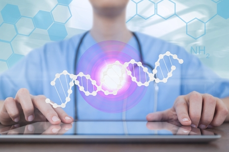 Digital composite of Doctor woman using a tablet with DNA strand and flares