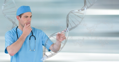 Digital composite of Doctor man standing with 3D DNA strand