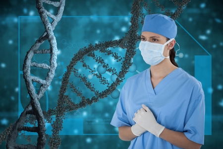 surgeon mask: Digital composite of Doctor woman standing with 3D DNA strands against blue background Stock Photo