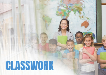 Digital composite of Classwork text and Elementary school teacher with class