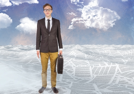 Digital composite of Businessman in sea of documents under sky clouds with briefcase