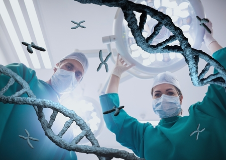 Digital composite of Doctors standing with 3D DNA strands Stock Photo
