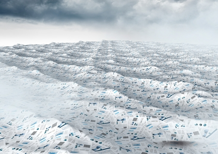 Digital composite of sea of documents under cloudy sky