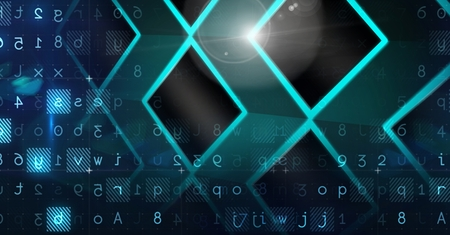 Digital composite of Abstract transition with  letters and numbers Stock Photo