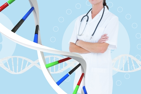 Digital composite of Doctor woman standing with DNA strands Stock Photo