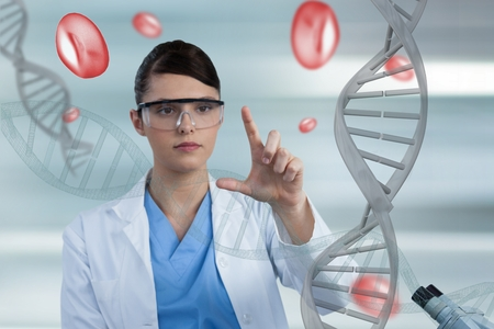 Digital composite of Doctor woman pointing with 3D DNA strands and cells Stock Photo