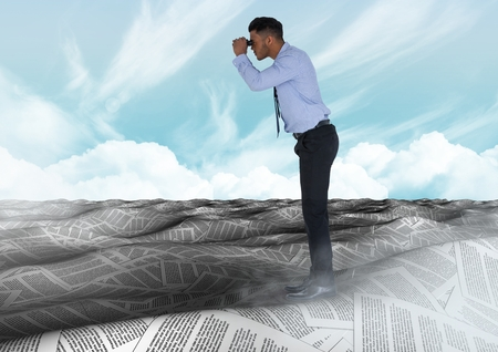 Digital composite of Businessman in sea of documents under sky clouds with binoculars