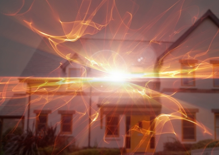Digital composite of Abstract transition with house fire