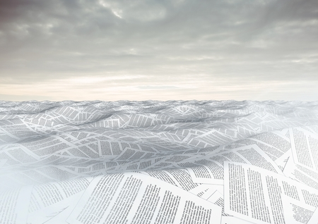 Digital composite of sea of documents under sky clouds