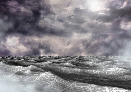 Digital composite of sea of documents under dark sky clouds