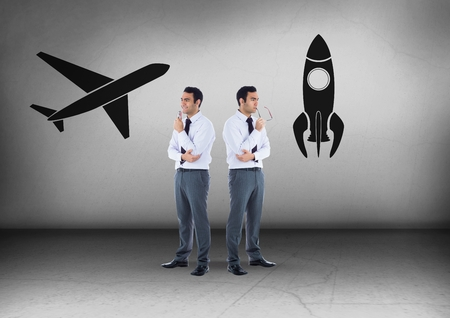 Digital composite of Plane or rocket with Businessman looking in opposite directions