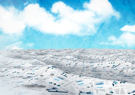 thoughtful: Digital composite of sea of documents under blue sky Stock Photo