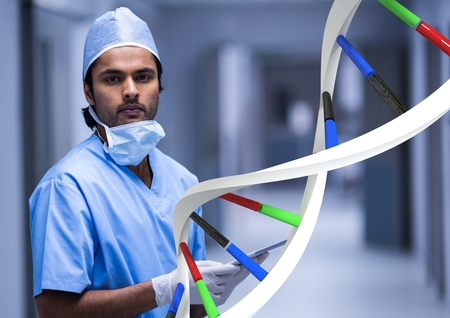 Digital composite of Doctor standing with 3D DNA strand Stock Photo
