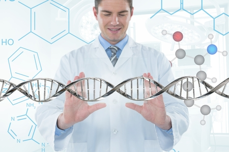 Digital composite of Happy doctor man interacting with 3D DNA strand