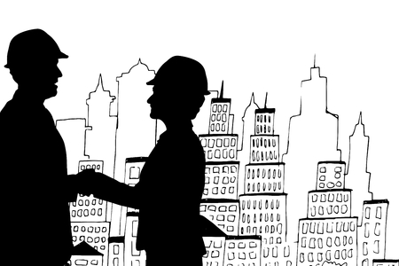 reach out: Digital composite of Business people shaking hands silhouette against city illustration Stock Photo
