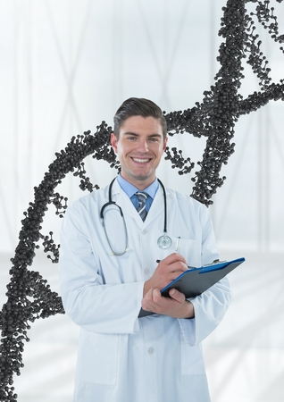 Digital composite of Happy doctor man standing with 3D DNA strand