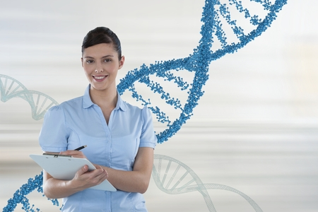 Digital composite of Happy doctor woman holding a folder with 3D DNA strands Stock Photo