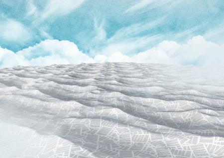 Digital composite of sea of documents under blue sky Stock Photo