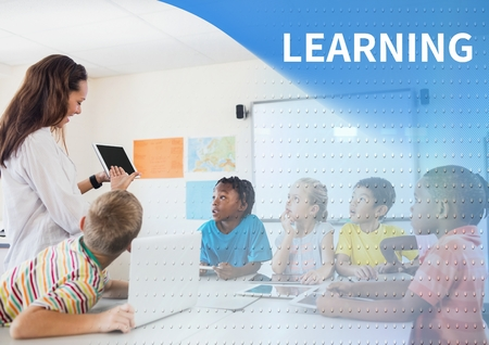 Digital composite of Learning text and School teacher with class