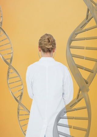 Digital composite of Doctor woman standing with 3D DNA strands against yellow background