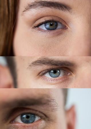 Digital composite of Various eyes in series of three