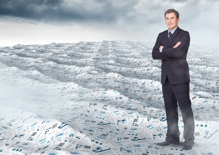arms folded: Digital composite of Businessman folding arms in sea of documents under sky clouds Stock Photo