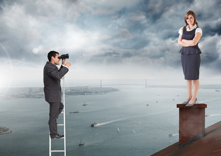 Digital composite of Businessman on ladder looking at Businesswoman standing on Roof with chimney and cloudy city port