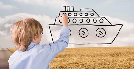道路に船を描く少年のデジタル合成
