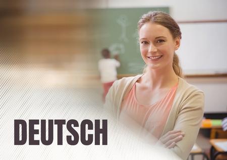 Digital composite of Deutsch text and School teacher with class