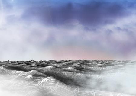 Digital composite of sea of documents under purple sky Stock Photo