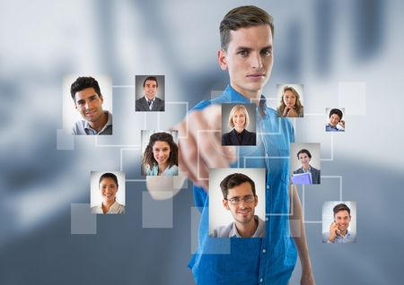 Digital composite of man interacting and choosing a person from group of people interface