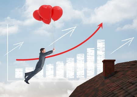 Digital composite of Incremented bar chart and Businessman floating with balloons by Roof with chimney and blue sky