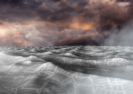 Digital composite of sea of documents under dramatic twilight sky