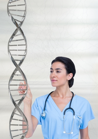 Digital composite of Doctor woman interacting with a ball with 3D DNA strand