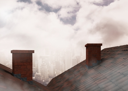 Digital composite of Roofs with chimney and city clouds Stock fotó