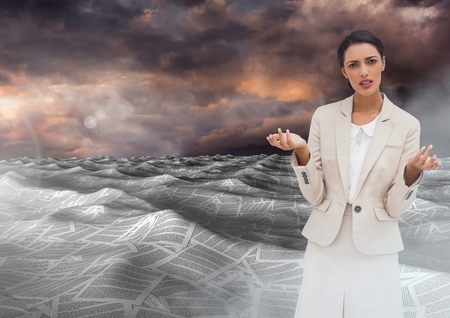 Digital composite of Businesswoman in sea of documents under colorful sky clouds